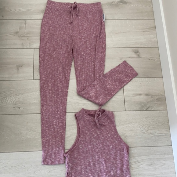 GYMSHARK Slounge set in dusty marled pink